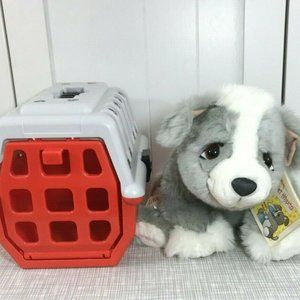 Lil Pet Hospital Gray Puppy Dog Plush with Carrier